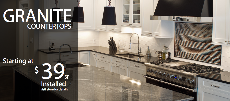 Granite Countertops starting at $39.00 per SF installed.