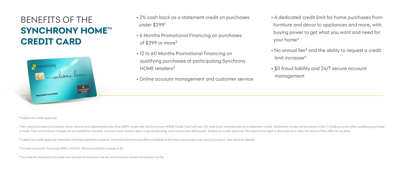 Synchrony HOME Card Benefits